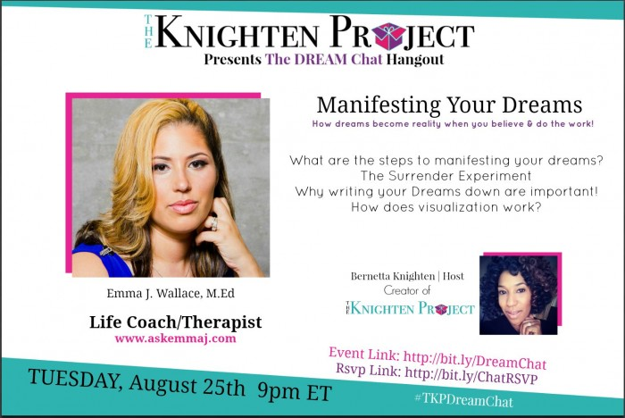 {Free Hangout} The Dream Chat: How to Manifest Your Dreams on Tuesday, August 25th at 9pm ET